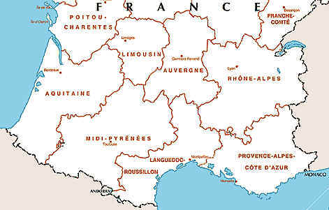 Map Of France South.South Of France