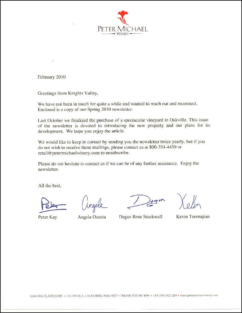 Rantings page peter michael winery dear john letter for Dear john letter template